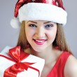 Portrait of beautiful sexy girl with Christmas gift — Stock fotografie #37338879