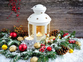 Christmas composition with lantern — Stockfoto