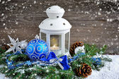 Christmas composition with lantern — Stok fotoğraf
