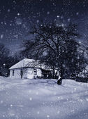 Old hut in winter in the frosty moonlight night — Stock Photo