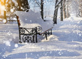 Bench in the park covered with snow — Stockfoto