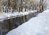 Mooie winterlandschap met de rivier — Stockfoto
