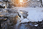 Winter landscape with the river in frosty sunny day — Stok fotoğraf