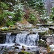 Small stream in mountains winter forest — Stock Photo