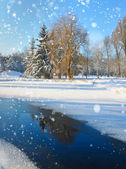 Winter landscape with the river in frosty day — Stok fotoğraf