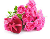 Heart-shaped Gift Box with pink roses on white background — Stock Photo