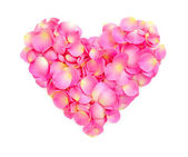 Heart with pink petals isolated on white — Stock Photo