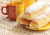 Panini. Italian buns with sweet cream on white background — Stock Photo