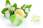 Colorful Easter Eggs on white background (with sample text) — Stock Photo