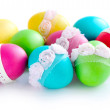 Colorful Easter Eggs isolated over white background — Stock Photo