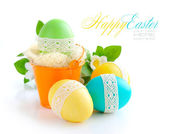 Colorful easter eggs on white background — Stock Photo