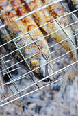 Grilled mackerels on the grill on campfire — Stock Photo
