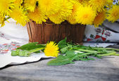 Bouquet of dandelions in a basket — Stock Photo