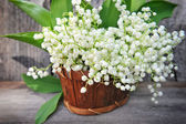 Basket with lilies of the valley (Convallaria majalis) — Stock Photo