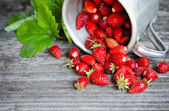 Fresh wild strawberries on an old wooden table — Stock Photo