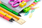 School office supplies on white background — Stock Photo