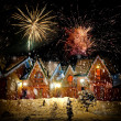 Decorated house with christmas lights — Stock Photo #13775566