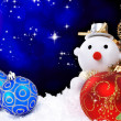 Stock Photo: Christmas holiday background with snow man