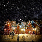 Decorated house with christmas lights — Stok fotoğraf