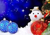 Christmas holiday background with a snow man — Foto Stock