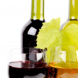 Wine bottle and glass — Stockfoto