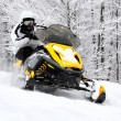 Stock Photo: Man on snowmobile