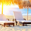 Two beach chairs with white umbrella — Stock Photo #22019933
