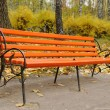 Red benches in a beautiful autumn park — Stock Photo