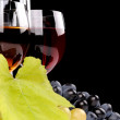 Branch of grapes and glass of wine — Stock Photo #34286025