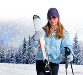 Young woman with ski — Foto Stock