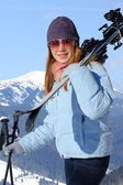 Young woman with ski — Stock Photo