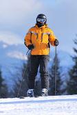 Skier in mountains — Stock Photo