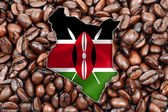 Kenya map with flag — Stock Photo