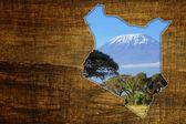 ケニア野生動物地図デザイン — ストック写真