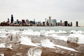 Chicago skyline during winter in front of Lake Michigan — Stock Photo
