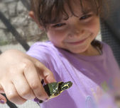 Little girl with small turtle — Stock Photo