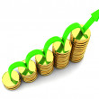 Business Graph with arrow and coins for profits and gains — Stock Photo