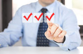 Man in office features and select Options — Stock Photo