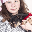 Girl with pet — Stock Photo