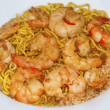 Noodles and shrimps — Stock Photo
