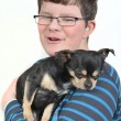 Boy with small dog — Stock Photo #21815269