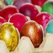 Easter eggs in various colors — 图库照片