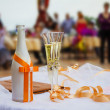 Stock Photo: Wedding Champagne glasses at outdoor wedding. Champagne glasses for wedding.