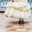 Wedding dance. Beautiful woman in white gown of the bride dance — Stock Photo