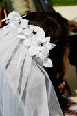 Wedding hairstyle of bride with white veil. — Stock Photo