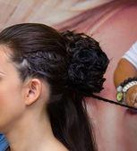 Schoonheid kapsel met pigtails — Stockfoto