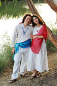 Young happy pregnant woman & her husband — ストック写真