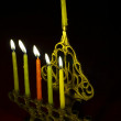 Hanuka candles in hanukkiya — Stock Photo
