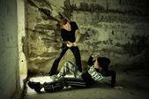 Hooligan killing of girl — Stock Photo