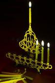 Hanuka candles in hanukkiya — Stock Photo